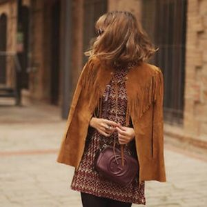 Zara Fringed Real Suede cape poncho brown jacket
